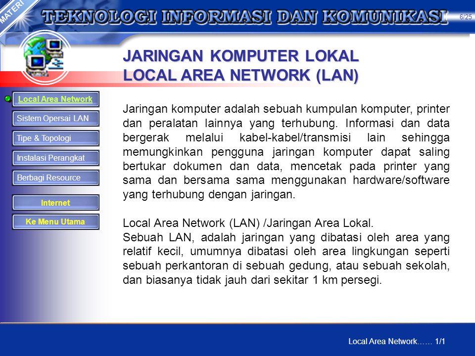JARINGAN KOMPUTER LOKAL LOCAL AREA NETWORK (LAN)