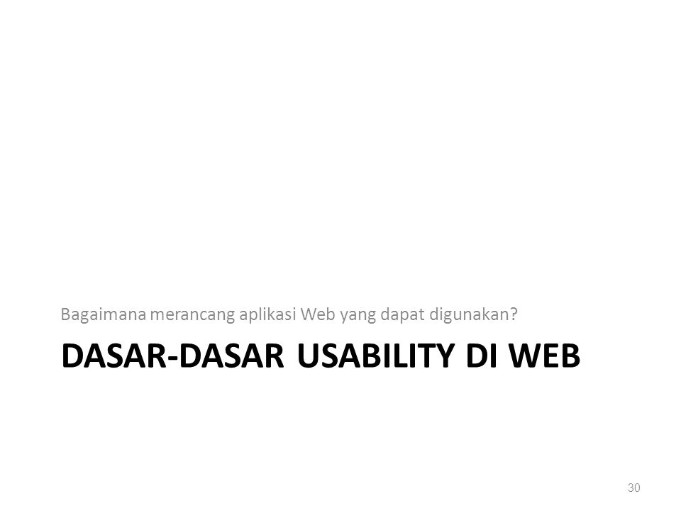 DASAR-DASAR USABILITY DI WEB