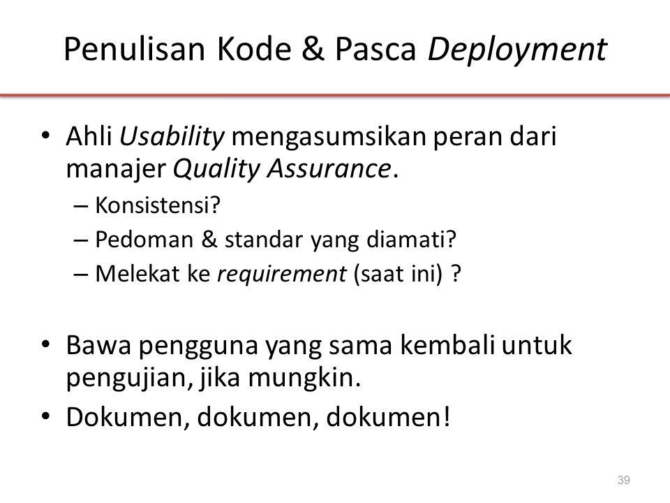 Penulisan Kode & Pasca Deployment