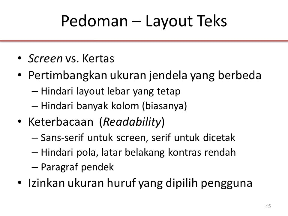 Pedoman – Layout Teks Screen vs. Kertas