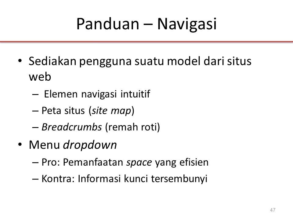 Panduan – Navigasi Sediakan pengguna suatu model dari situs web