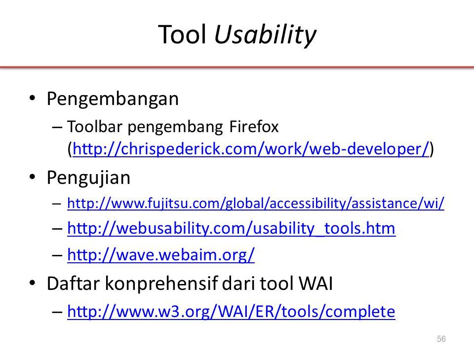 Tool Usability Pengembangan Pengujian