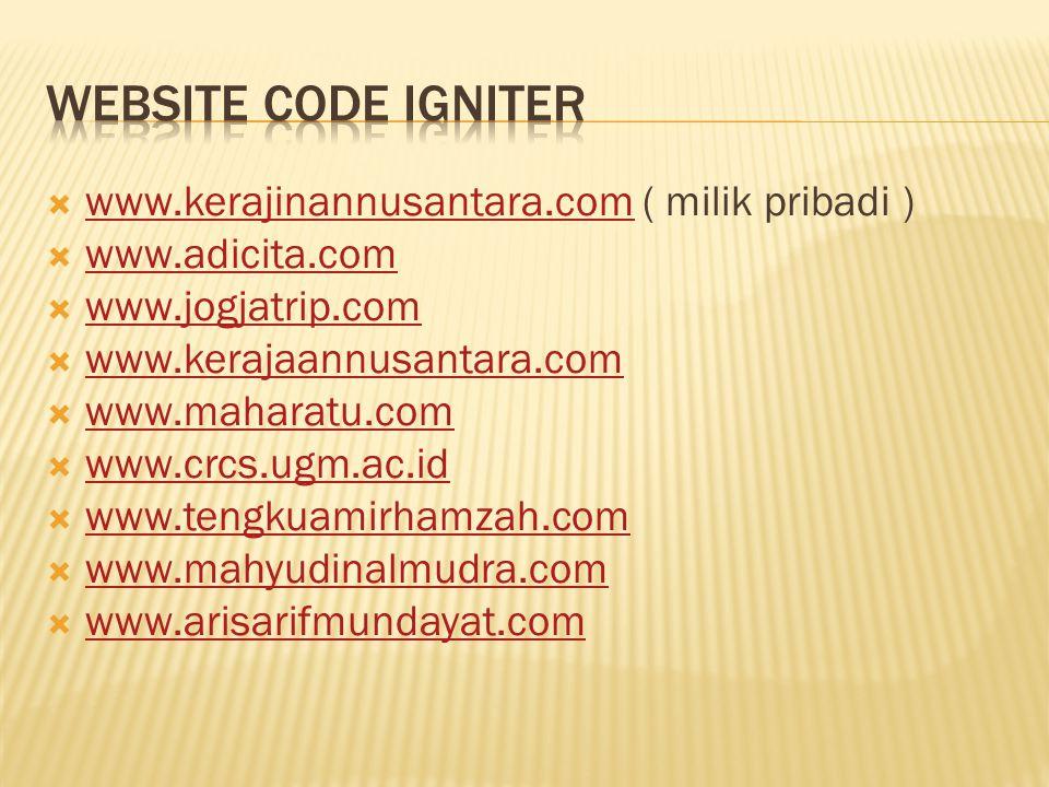 Website Code Igniter www.kerajinannusantara.com ( milik pribadi )