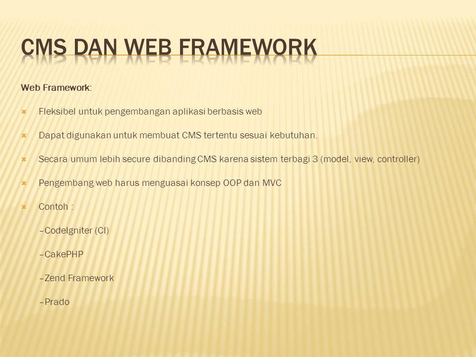 CMS dan Web Framework Web Framework: