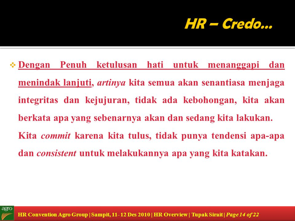 HR – Credo…