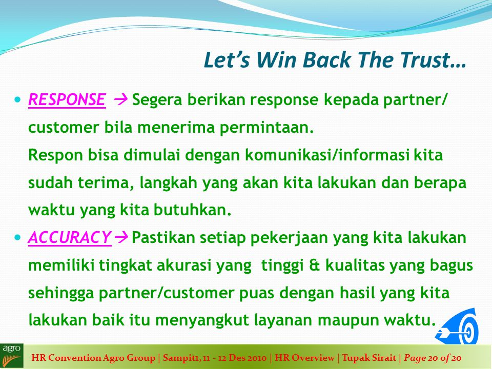Let's Win Back The Trust…