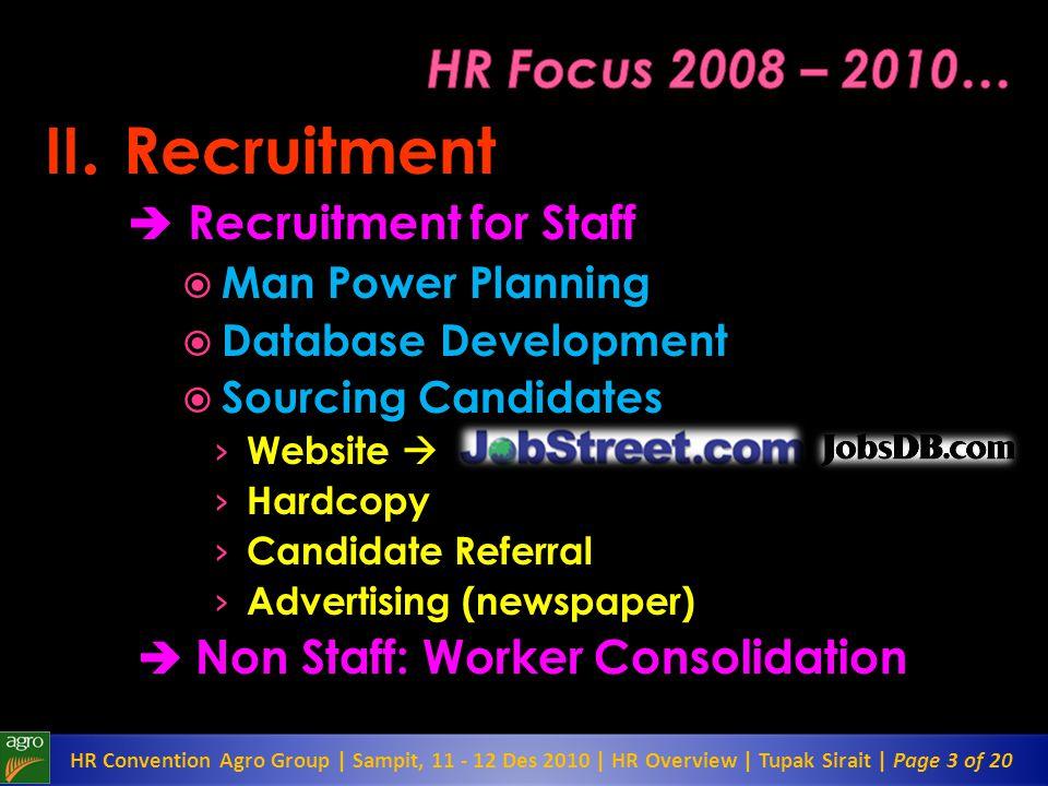 II. Recruitment HR Focus 2008 – 2010…  Recruitment for Staff