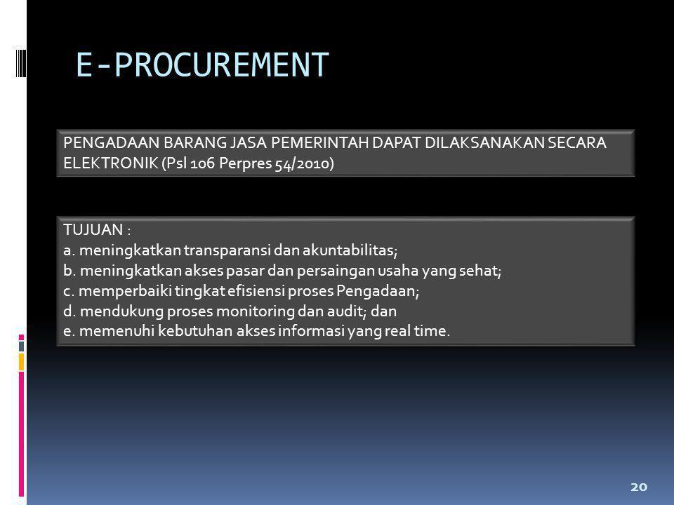 E-PROCUREMENT PENGADAAN BARANG JASA PEMERINTAH DAPAT DILAKSANAKAN SECARA ELEKTRONIK (Psl 106 Perpres 54/2010)