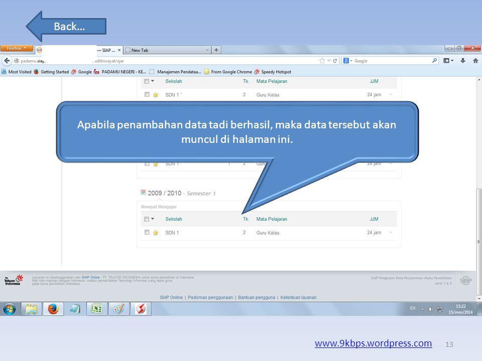 Apabila penambahan data tadi berhasil, maka data tersebut akan muncul di halaman ini.