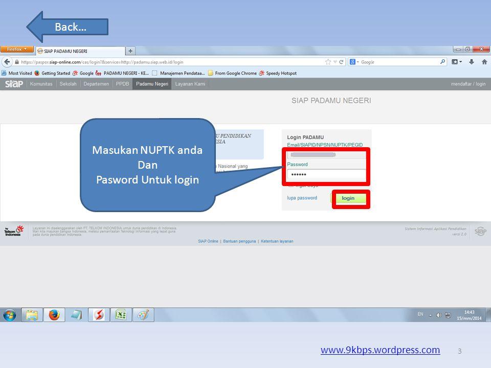 Masukan NUPTK anda Dan Pasword Untuk login