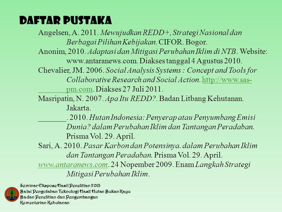 DAFTAR PUSTAKA Angelsen, A. 2011. Mewujudkan REDD+, Strategi Nasional dan Berbagai Pilihan Kebijakan. CIFOR. Bogor.