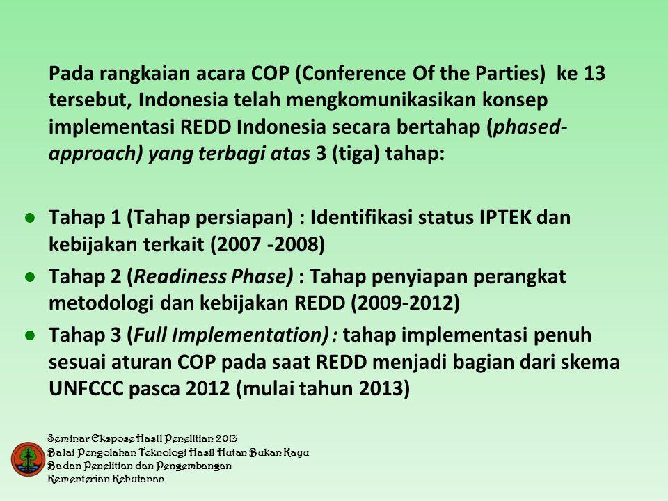 Pada rangkaian acara COP (Conference Of the Parties) ke 13 tersebut, Indonesia telah mengkomunikasikan konsep implementasi REDD Indonesia secara bertahap (phased-approach) yang terbagi atas 3 (tiga) tahap: