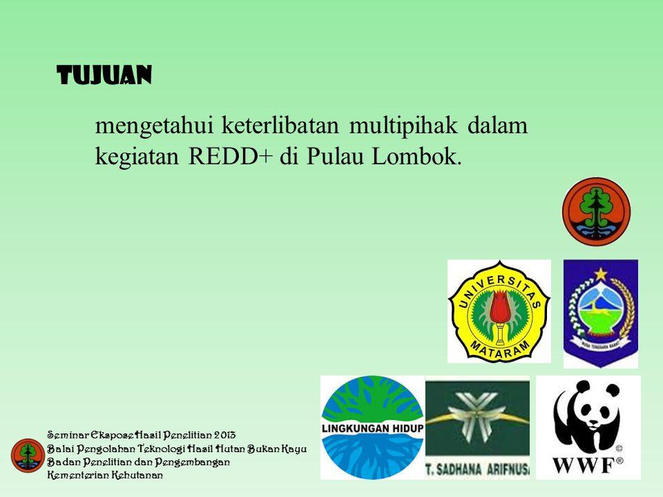 TUJUAN mengetahui keterlibatan multipihak dalam kegiatan REDD+ di Pulau Lombok. Seminar Ekspose Hasil Penelitian 2013.