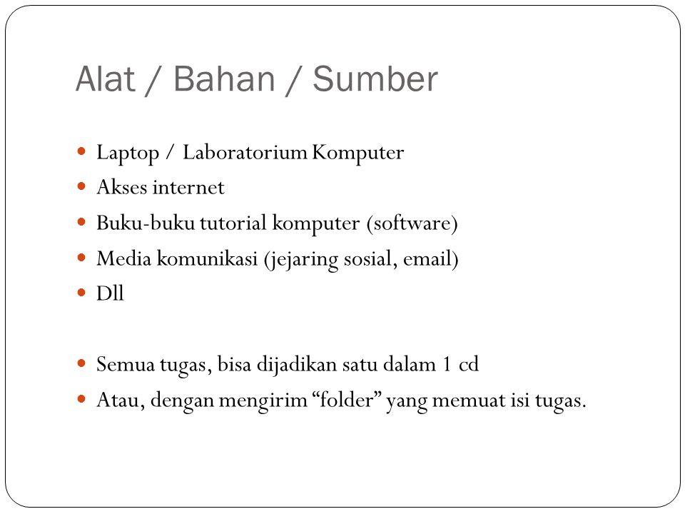 Alat / Bahan / Sumber Laptop / Laboratorium Komputer Akses internet