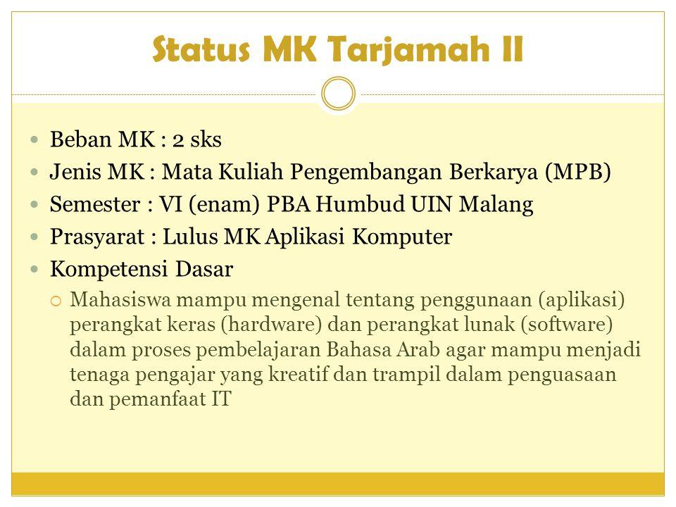 Status MK Tarjamah II Beban MK : 2 sks