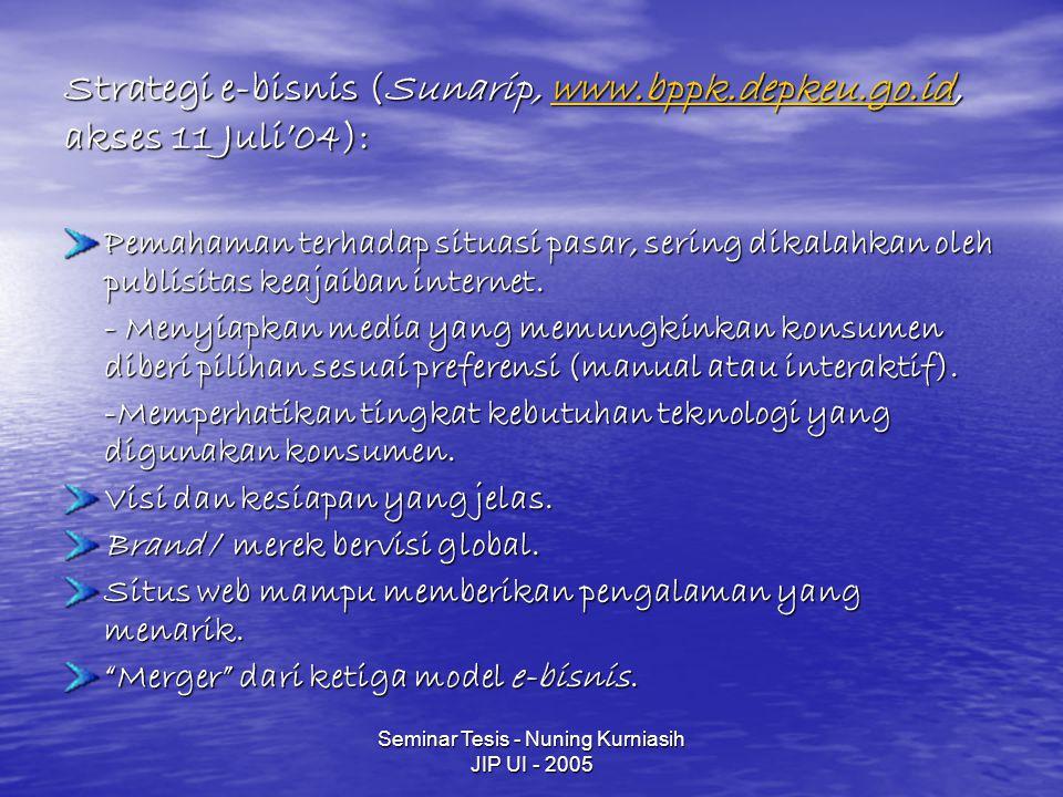 Strategi e-bisnis (Sunarip, www.bppk.depkeu.go.id, akses 11 Juli'04):
