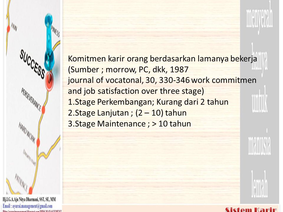 Komitmen karir orang berdasarkan lamanya bekerja (Sumber ; morrow, PC, dkk, 1987 journal of vocatonal, 30, 330-346 work commitmen and job satisfaction over three stage) 1.Stage Perkembangan; Kurang dari 2 tahun 2.Stage Lanjutan ; (2 – 10) tahun 3.Stage Maintenance ; > 10 tahun