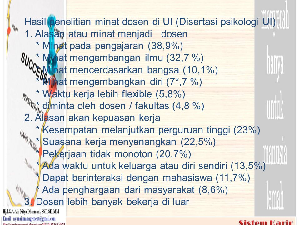 Hasil penelitian minat dosen di UI (Disertasi psikologi UI) 1
