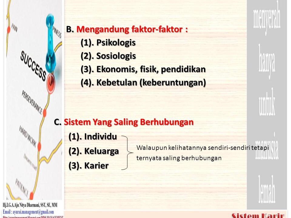 B. Mengandung faktor-faktor : (1). Psikologis (2). Sosiologis