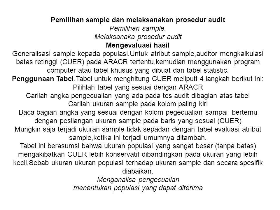 Pemilihan sample dan melaksanakan prosedur audit Pemilihan sample.