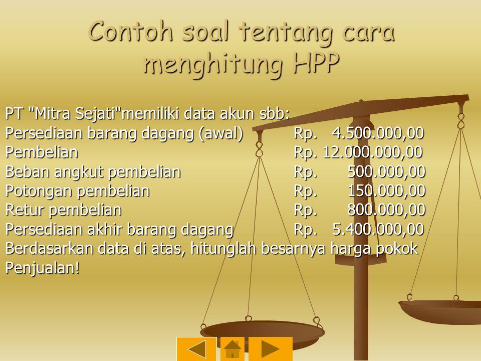 Contoh soal tentang cara menghitung HPP