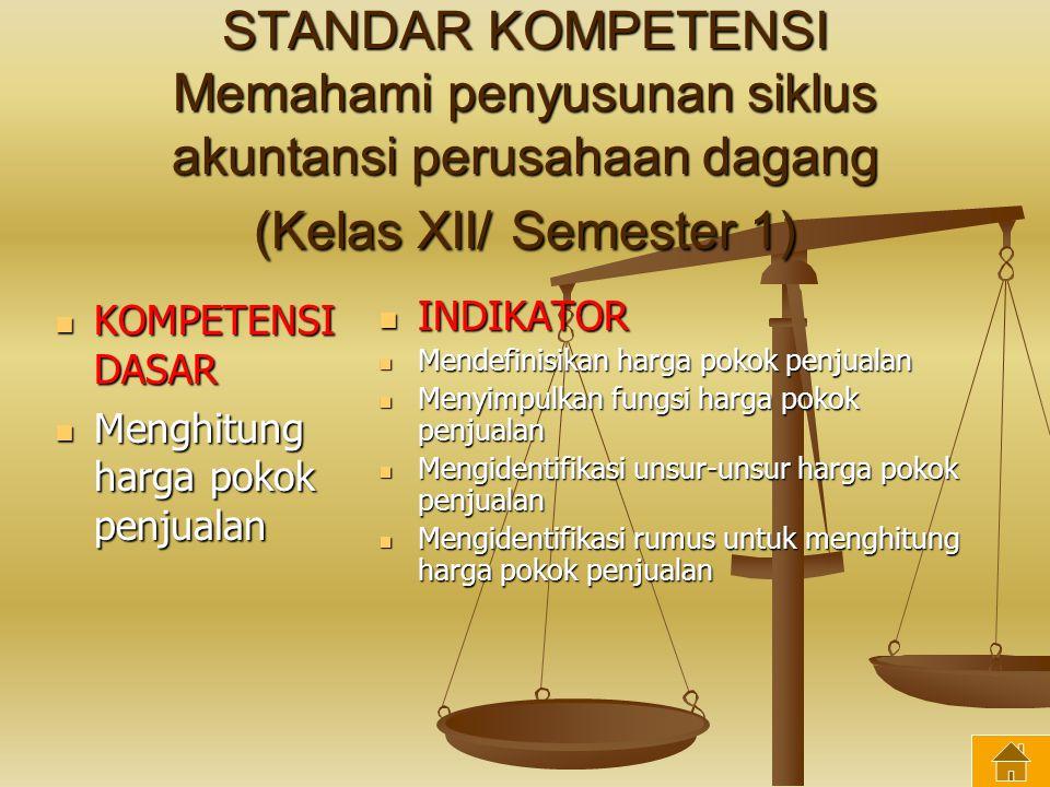 STANDAR KOMPETENSI Memahami penyusunan siklus akuntansi perusahaan dagang (Kelas XII/ Semester 1)