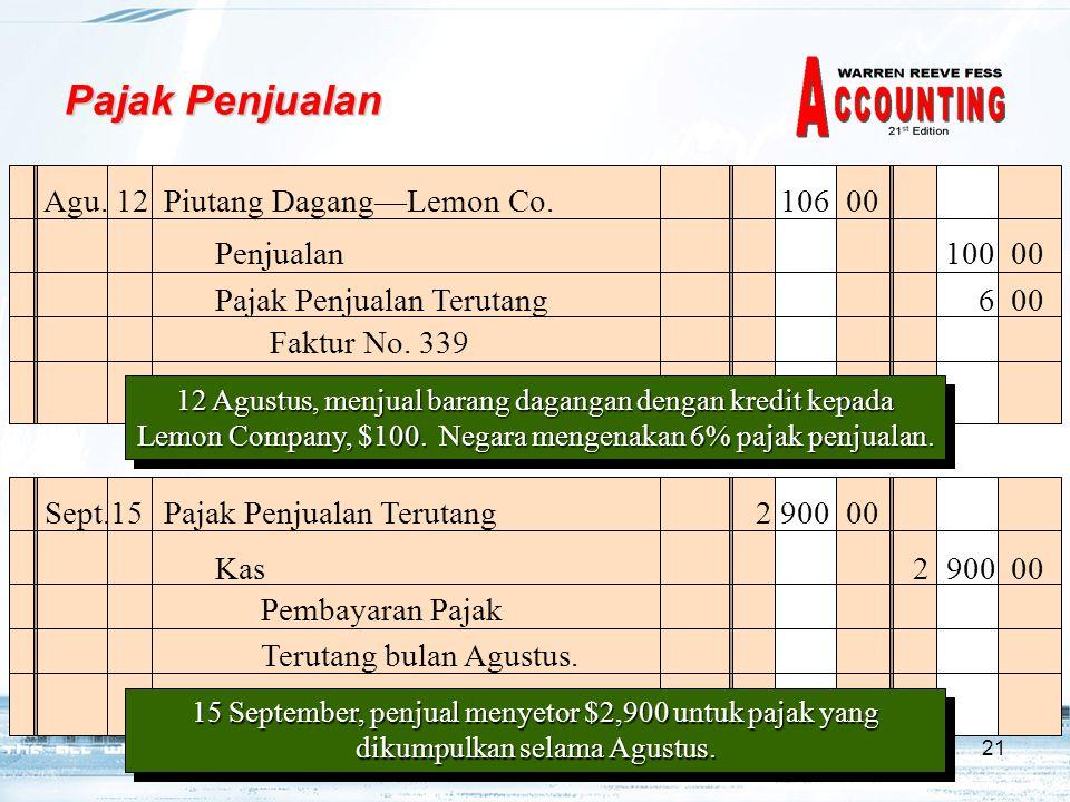 Pajak Penjualan Agu. 12 Piutang Dagang—Lemon Co. 106 00