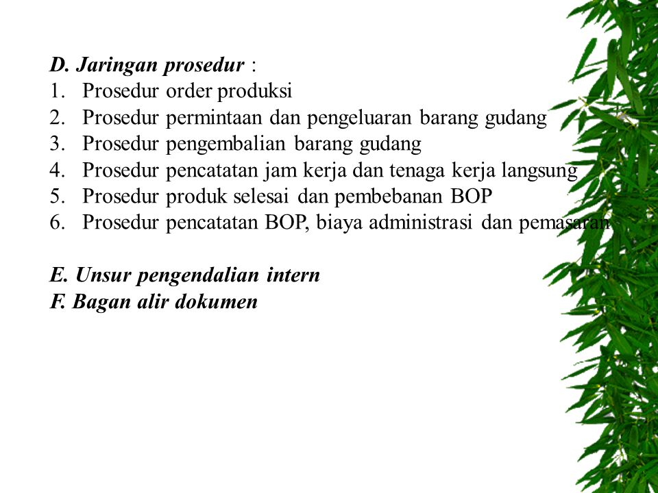D. Jaringan prosedur : Prosedur order produksi. Prosedur permintaan dan pengeluaran barang gudang.