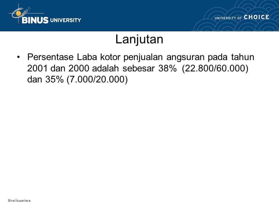 Lanjutan Persentase Laba kotor penjualan angsuran pada tahun 2001 dan 2000 adalah sebesar 38% (22.800/60.000) dan 35% (7.000/20.000)