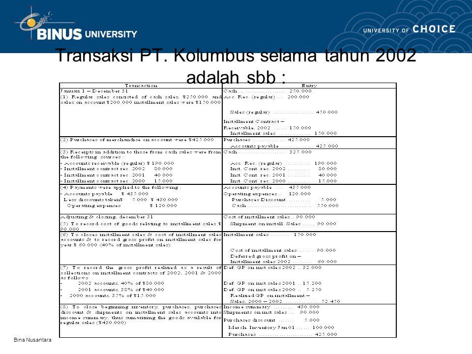 Transaksi PT. Kolumbus selama tahun 2002 adalah sbb :