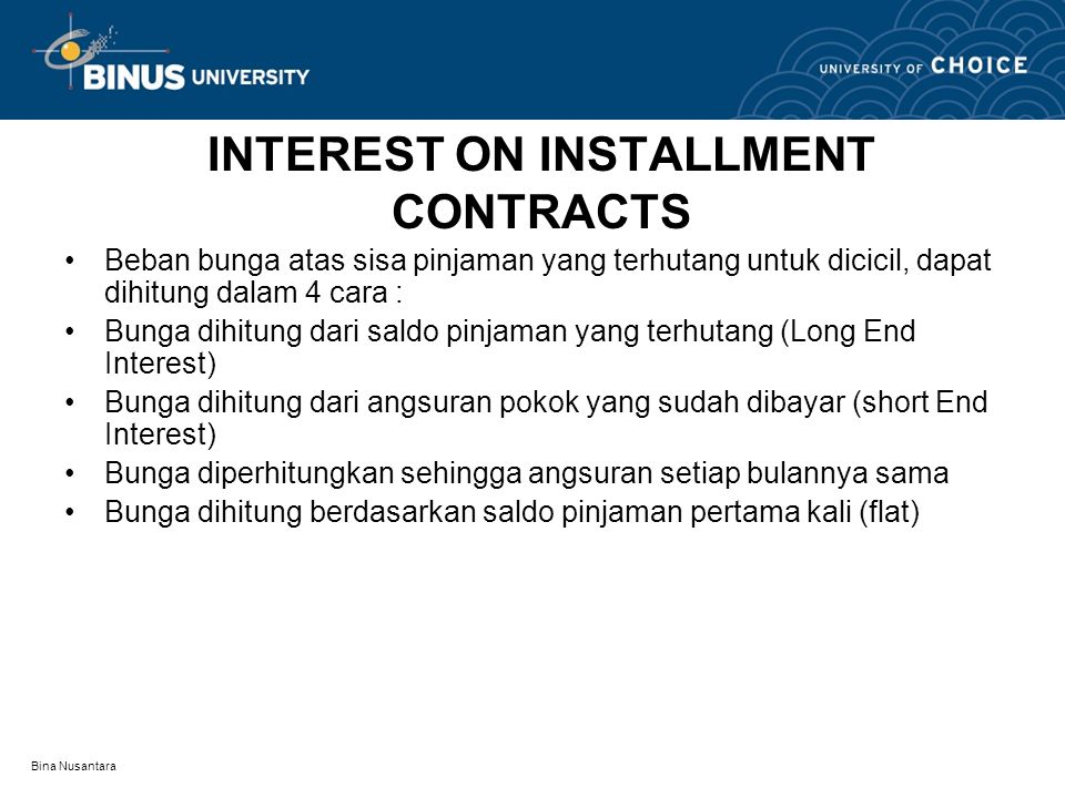 INTEREST ON INSTALLMENT CONTRACTS