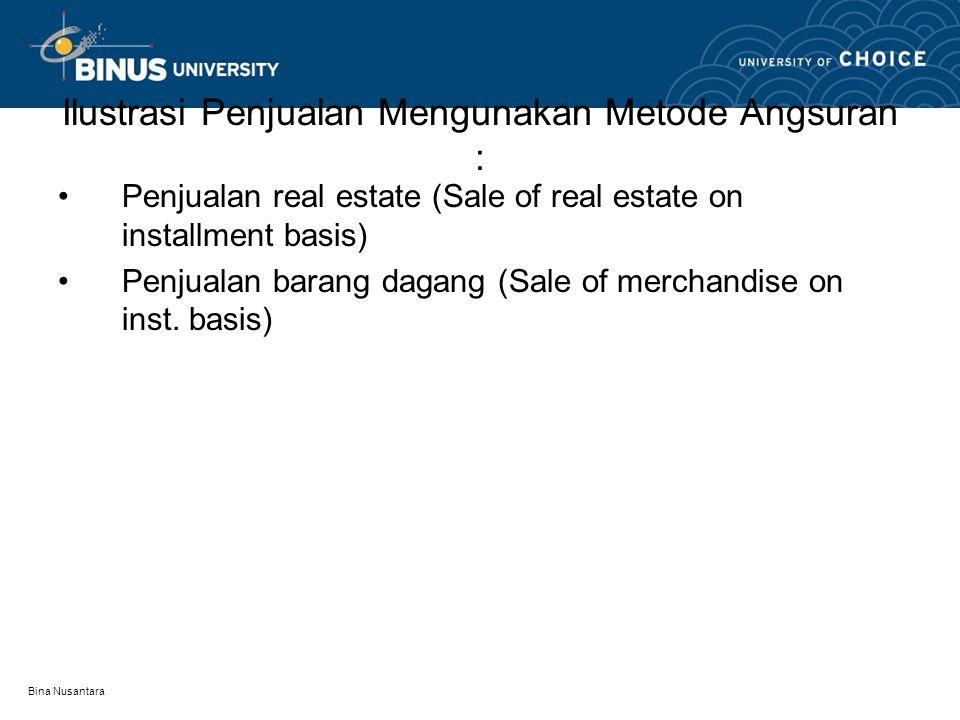 Ilustrasi Penjualan Mengunakan Metode Angsuran :