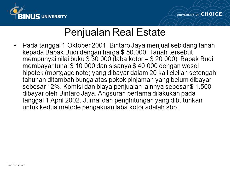 Penjualan Real Estate