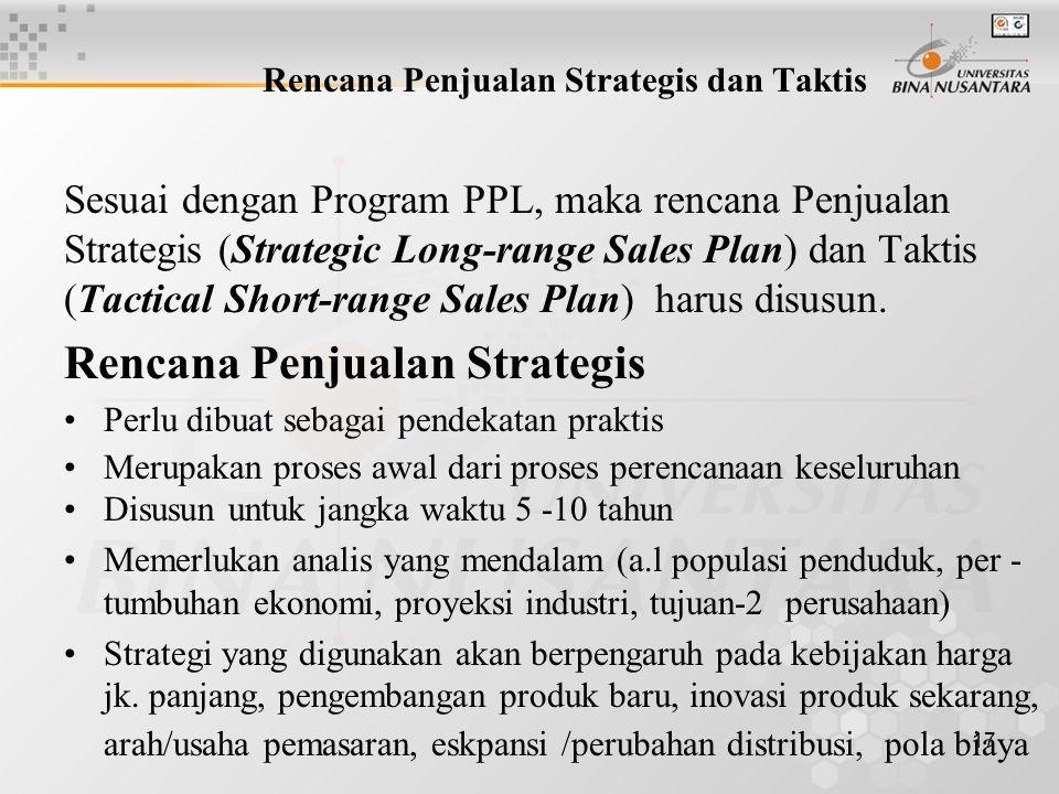 Rencana Penjualan Strategis dan Taktis