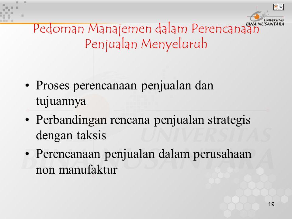 Pedoman Manajemen dalam Perencanaan Penjualan Menyeluruh