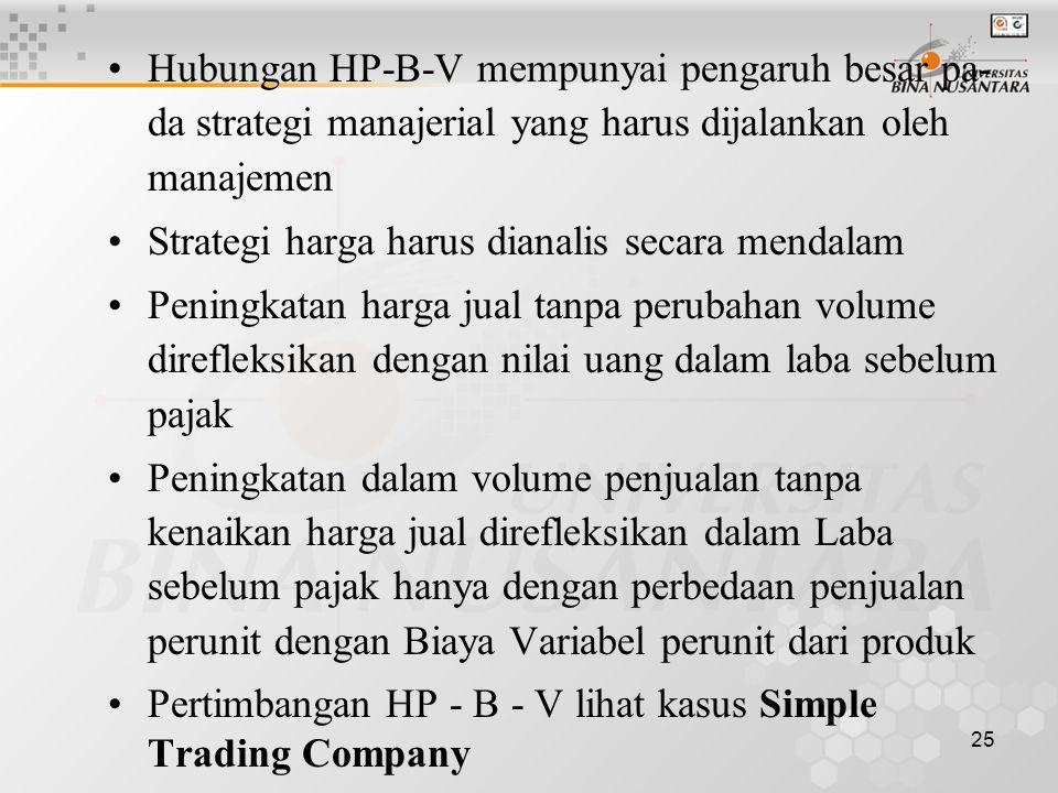Hubungan HP-B-V mempunyai pengaruh besar pa- da strategi manajerial yang harus dijalankan oleh manajemen