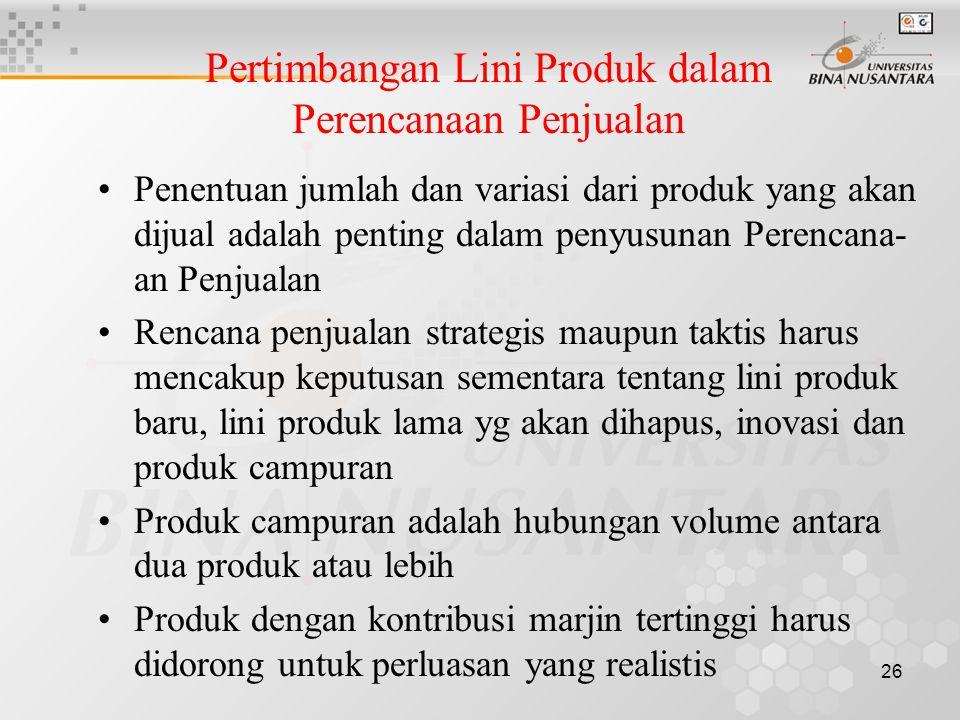 Pertimbangan Lini Produk dalam Perencanaan Penjualan
