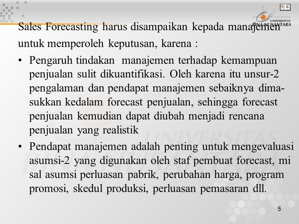 Sales Forecasting harus disampaikan kepada manajemen