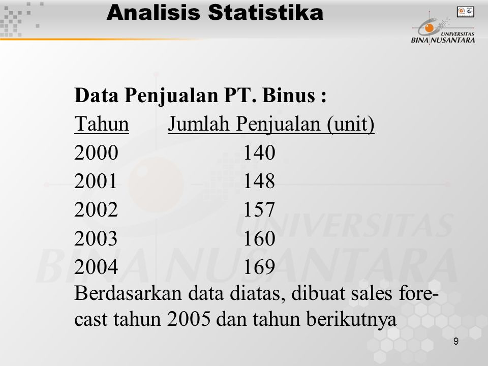 Analisis Statistika Data Penjualan PT. Binus : Tahun Jumlah Penjualan (unit) 2000 140.