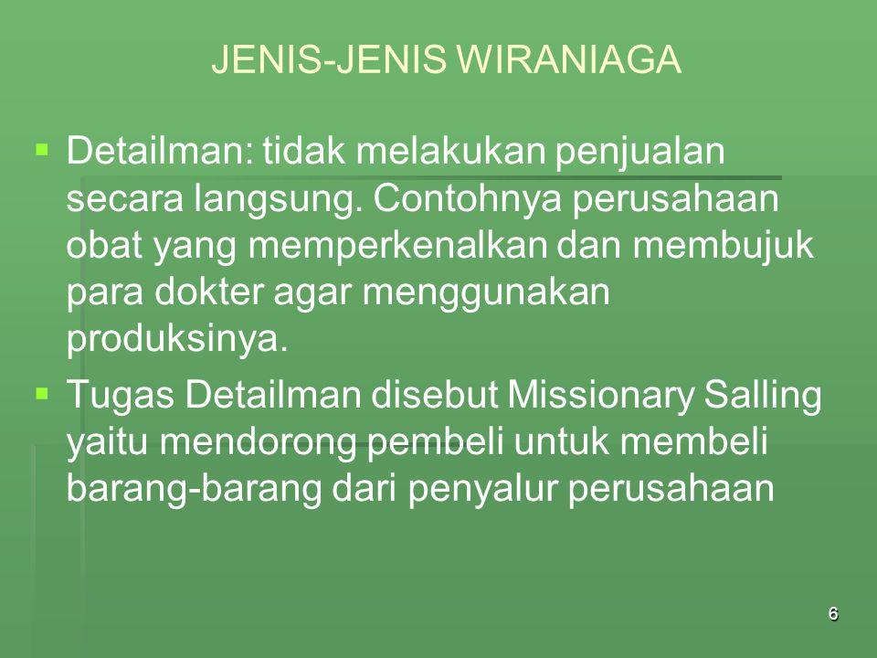 JENIS-JENIS WIRANIAGA