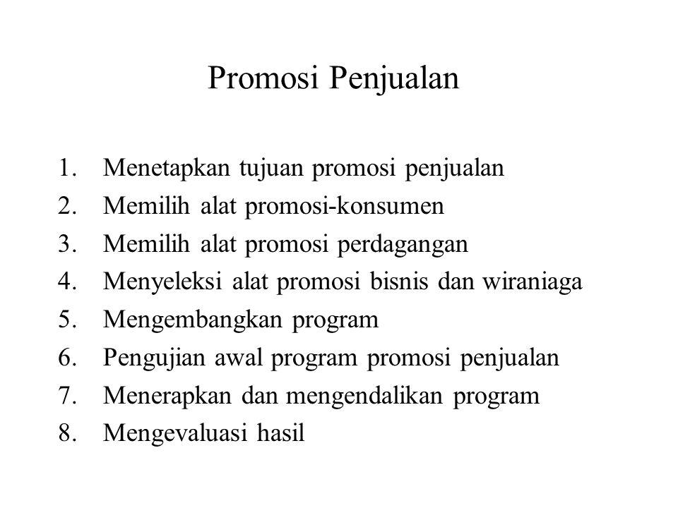 Promosi Penjualan Menetapkan tujuan promosi penjualan