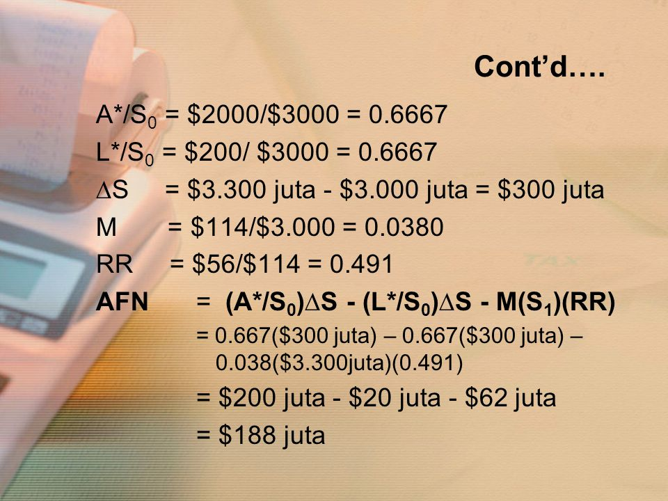 Cont'd…. A*/S0 = $2000/$3000 = 0.6667 L*/S0 = $200/ $3000 = 0.6667