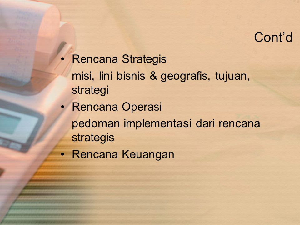 Cont'd Rencana Strategis