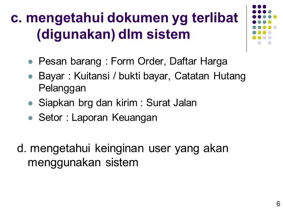 c. mengetahui dokumen yg terlibat (digunakan) dlm sistem