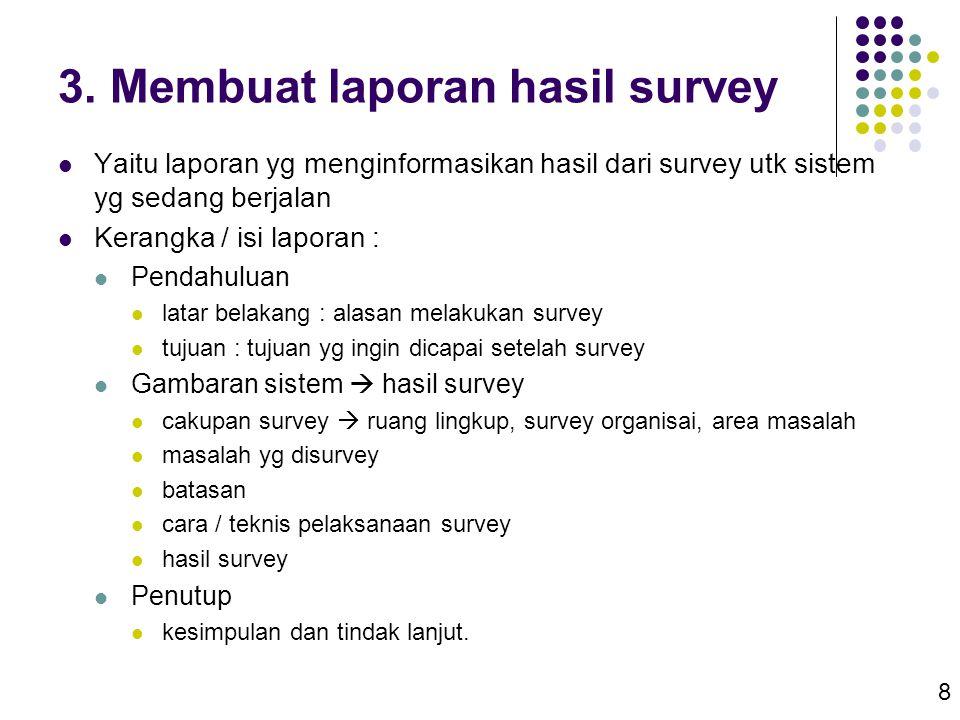 3. Membuat laporan hasil survey