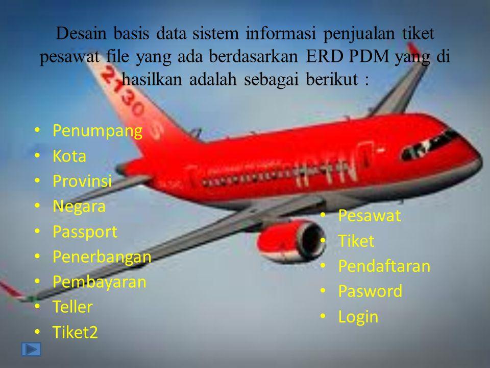 Desain basis data sistem informasi penjualan tiket pesawat file yang ada berdasarkan ERD PDM yang di hasilkan adalah sebagai berikut :