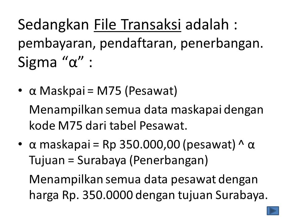 Sedangkan File Transaksi adalah : pembayaran, pendaftaran, penerbangan