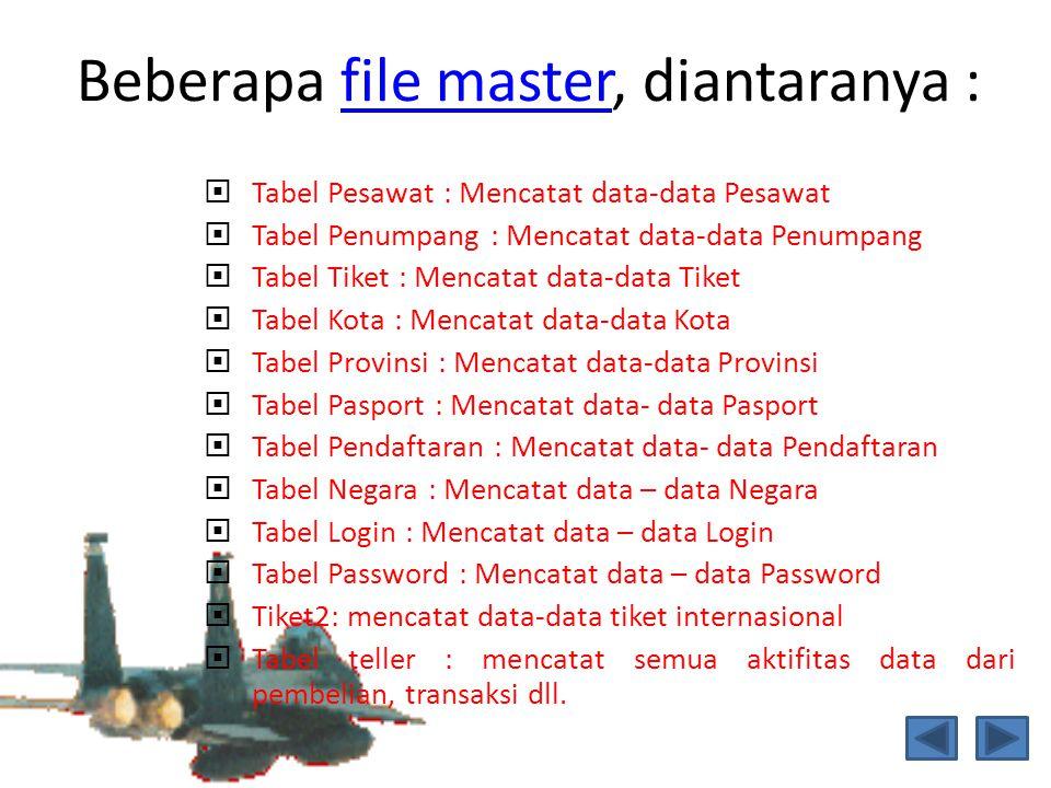 Beberapa file master, diantaranya :