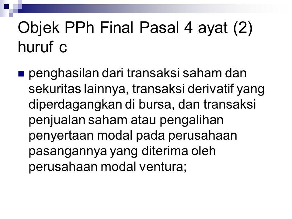 Objek PPh Final Pasal 4 ayat (2) huruf c