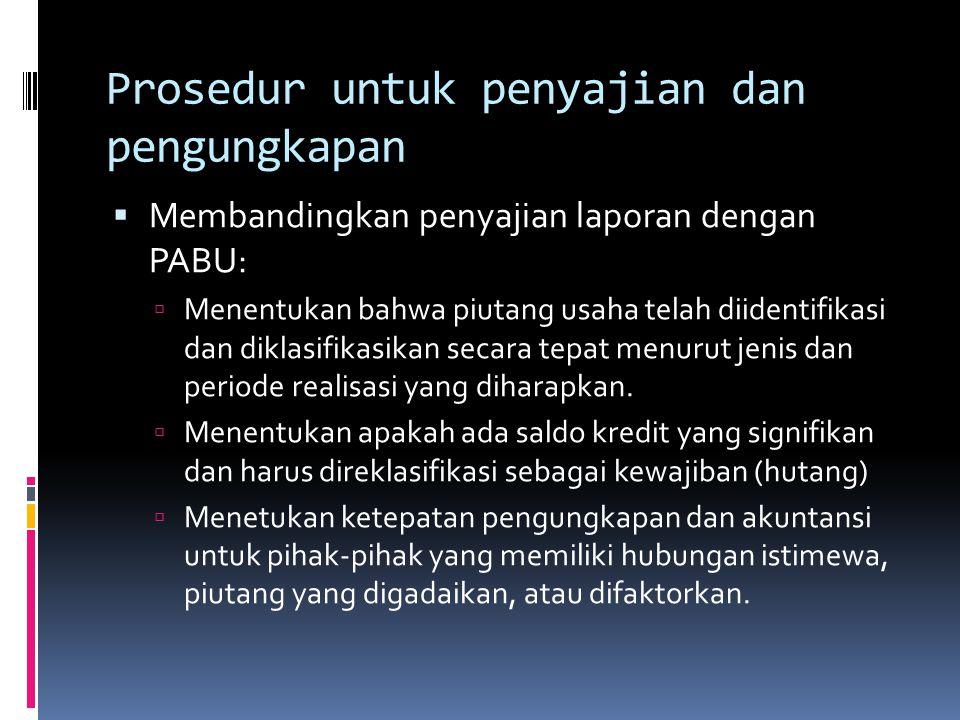 Prosedur untuk penyajian dan pengungkapan